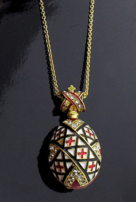 Egg Pendant:  Black/White/Red Pysanky Design with Chain