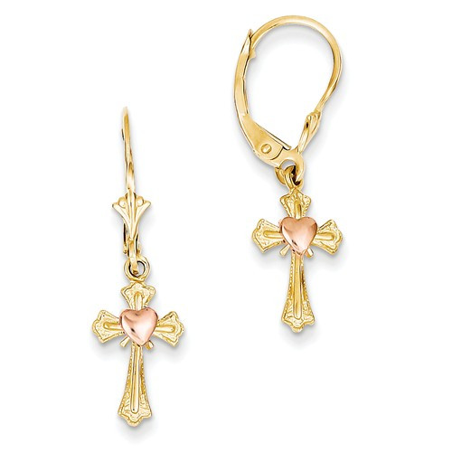 14KYG with Rose Gold Cross Leverback Earrings