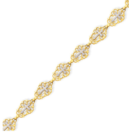 14KYG Two-tone Diamond Cut Cross Bracelet