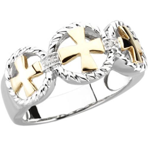 14KT Yellow Gold, White Gold & Genuine Diamond Men's Cross Wedding Ring