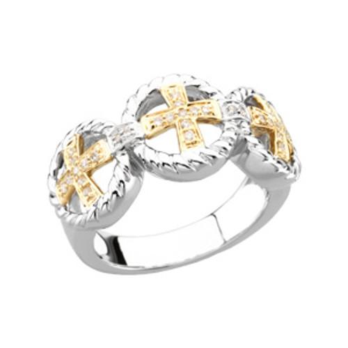 14KT Yellow Gold, White Gold & Genuine Diamond Ladies Cross Wedding Ring