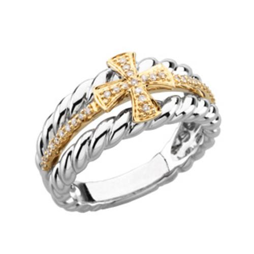 14KT Yellow Gold, White Gold & Genuine Diamond Ladies Greek Cross Wedding Ring