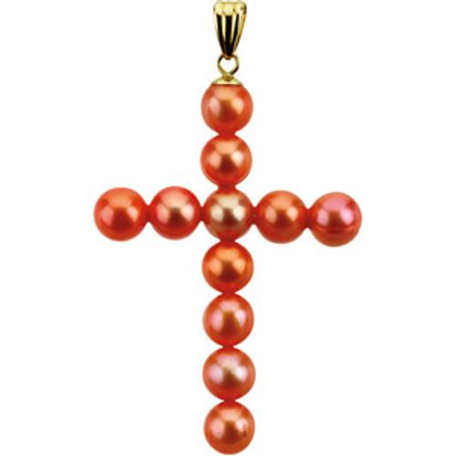 14KYG and Genuine Freshwater Cultured Rose Pearl Cross