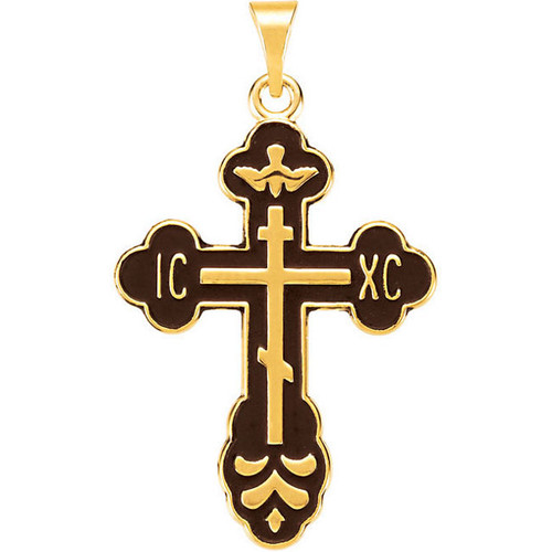 14KT St. Xenia Style Cross with Black Enamel