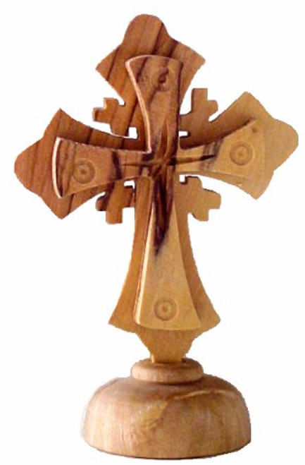 Tabletop Olive Wood Jerusalem Cross
