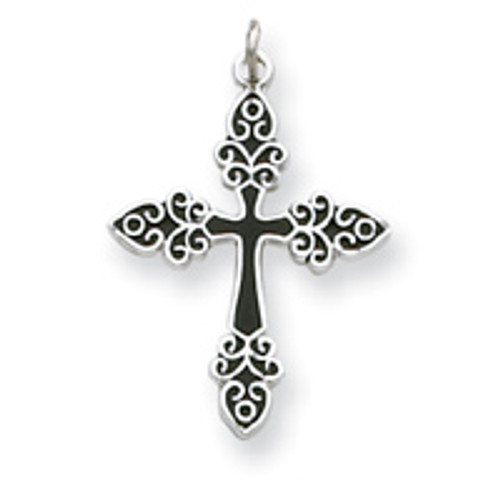 Sterling Silver Black Enameled Cross Pendant