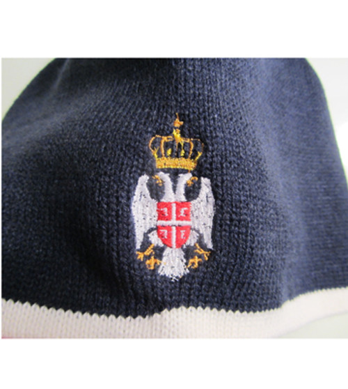 Embroidered Serbian Crest Knit Cap