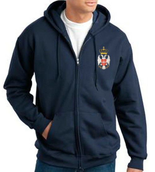 Embroidered Serbian Grb Flag Zip Sweatshirt- Men's MORE COLORS!