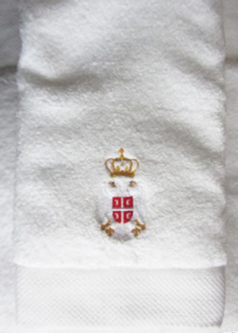Embroidered Premium Towel - Serbian Crest: Hand Towel