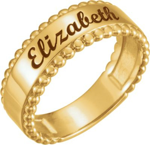 PERSONALIZED Engravable Beaded Ring- IN ANY LANGUAGE