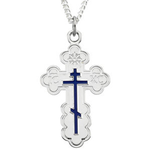Sterling Silver Fancy St. Olga Style Cross with Blue Enamel 1 1/8""