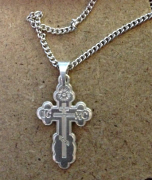 "Sterling Silver St. Olga Style Cross- Small with 18"" SS Chain"