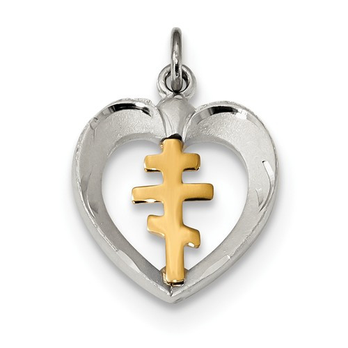Sterling Silver & Gold-Plated Orthodox Cross Heart Pendant
