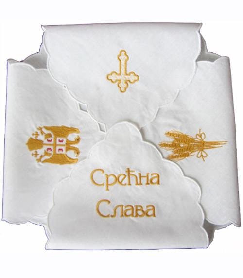 Embroidered Slava Kolach Cloth: Gold Slava Symbols (Wrap Style)