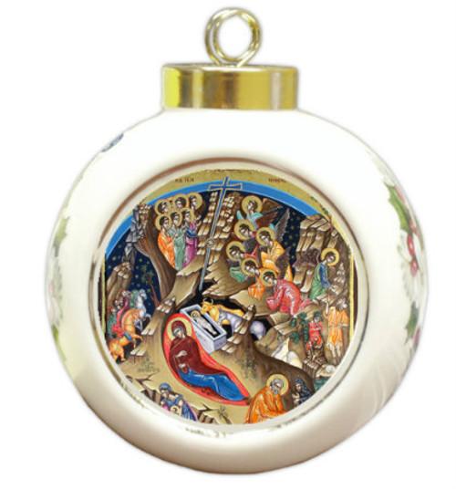 Nativity Scene Ceramic Bulb Ornament