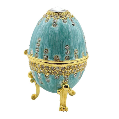 Teal Enamel Faberge Jeweled Egg Trinket Box
