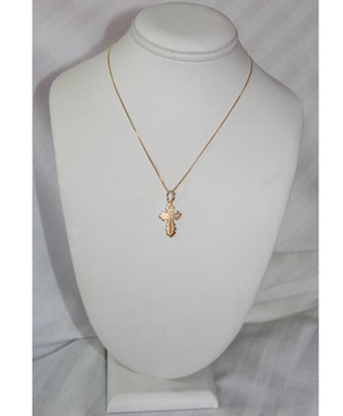 14KYG St. Olga Style Cross- Medium