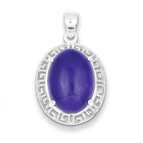 Sterling Silver Purple Jade Greek Key Pendant