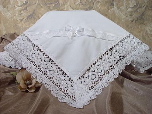Handmade Girls Cotton Batiste Blanket with Cluny Trim