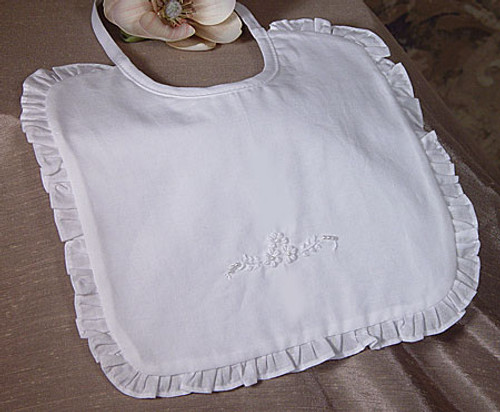 Handmade Cotton Embroidered Bib with Ruffles