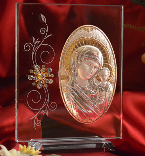 Italian Silver Icon of Christ and Theotokos on Glass Stand with Decorations