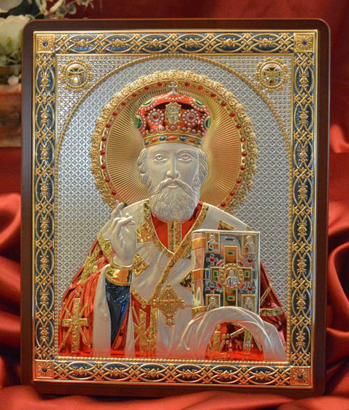 St. Nicholas Italian Silver Icon in Color: 4 Sizes Available