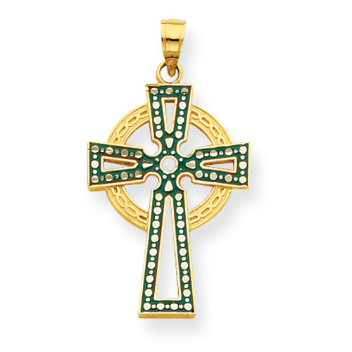 14K Green & White Enameled Diamond-Cut Celtic Cross Pendant