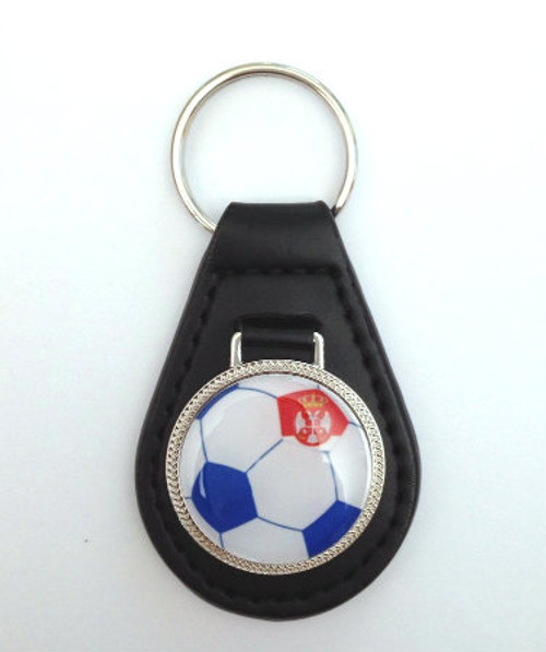 Serbian Soccer Fan Leather Keychain