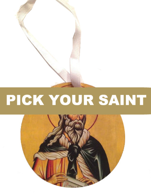 Pick-Your-Saint Dual-Sided Round Acrylic Icon Ornament