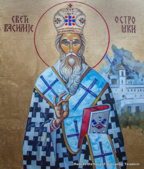 *Handpainted Icon: St. Vasilije of Ostrog