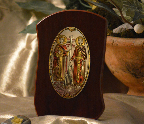 Italian Silver Icon of Ss. Constantine & Helen on Curved Wood (Colored)