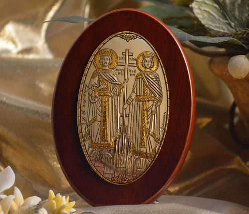 Italian Silver Icon of Ss. Constantine and Helen on Wood
