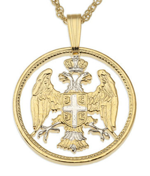 "14KT & Rhodium Plated 7/8"" Serbian Eagle Pendant and Chain"
