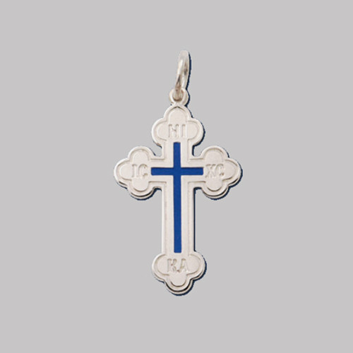 Sterling Silver Greek Enameled Baptismal Cross- 1 3/8""
