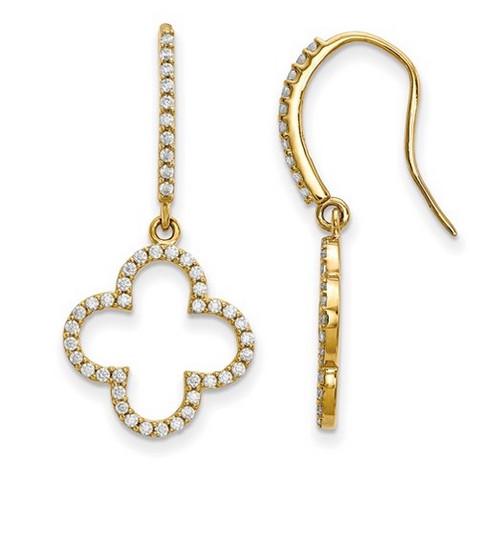 14KT Genuine Diamond Dangle Earrings