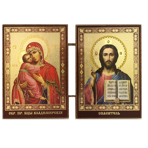 "Matched Set Gold Foil Icon Diptych- Virgin of Vladimir and Christ The Teacher -3 1/2""x5"""