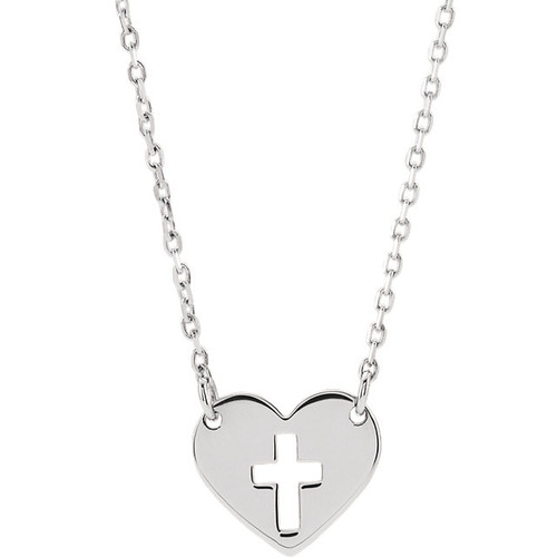 Sterling Silver 10mm Pierced Cross Heart Pendant with Chain
