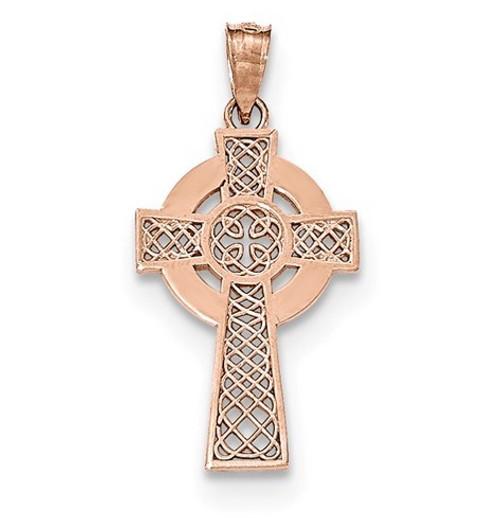 """14K Rose Gold Celtic Cross Pendant- 1 1/4"""""""