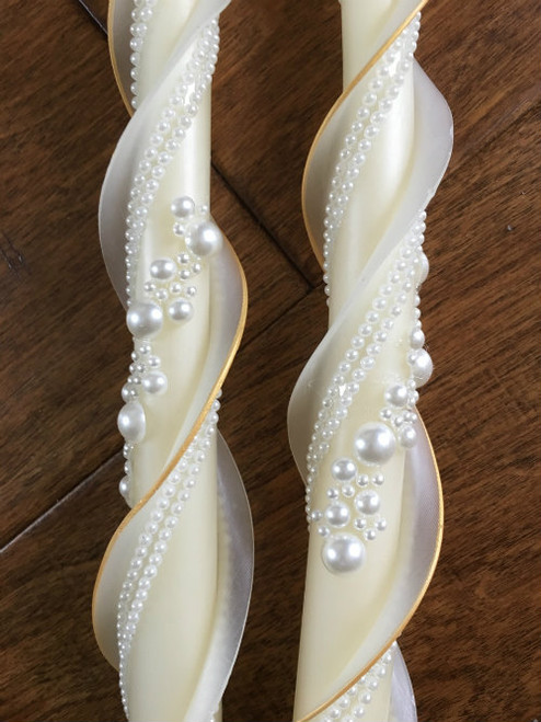 Beaded Double Twist 100% Ivory Beeswax Wedding Candles- Set of 2