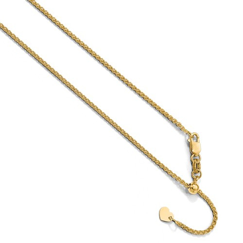 10KT 1.35 MM Spiga (Wheat) Chain- Adjustable Lengths to 22""