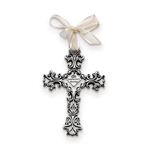 """Anniversary Blessings"" Silver Hanging Wall Cross- 5"""