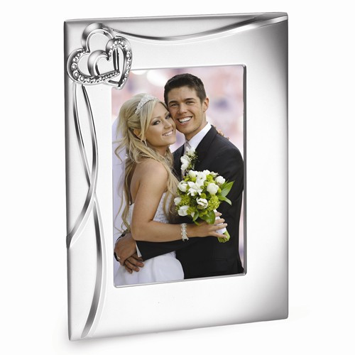 Engravable 5 x 7 Photo Wedding Frame with Heart Accents
