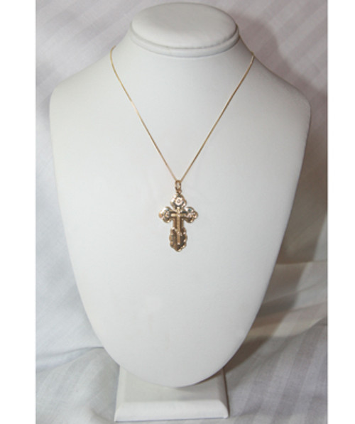 14KT St. Olga Style Cross- Extra Large (Inscribed)