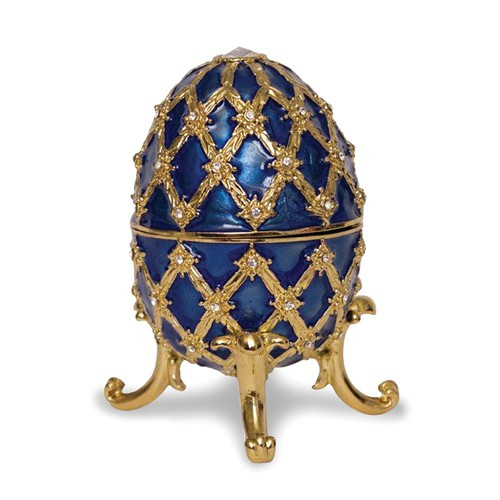 Imperial Egg Trinket Music Box- Royal Blue
