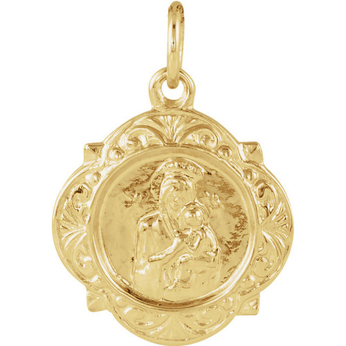 14KYG Theotokos & Christ Round Medallion