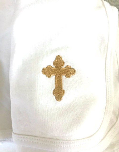 Soft White Knit Baptismal Blanket with Embroidered Cross