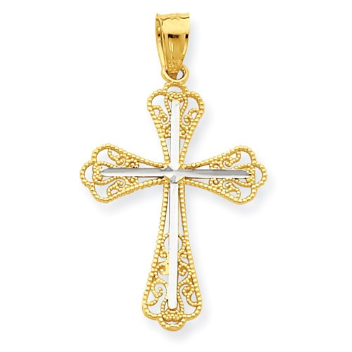 10KT and Rhodium Diamond-Cut Cross Pendant- 1""