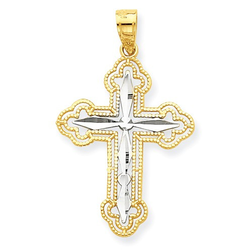 10kt and rhodium byzantine cross pendant 1 orthodoxgifts 10kt and rhodium byzantine cross pendant 1 mozeypictures Image collections