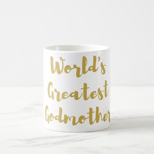 World's Greatest Godmother Coffee Mug in Gold or Silver Metallic Foil