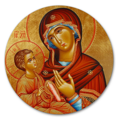 "Standing 6"" Icon of the Theotokos with Magnetic and Easel Back"